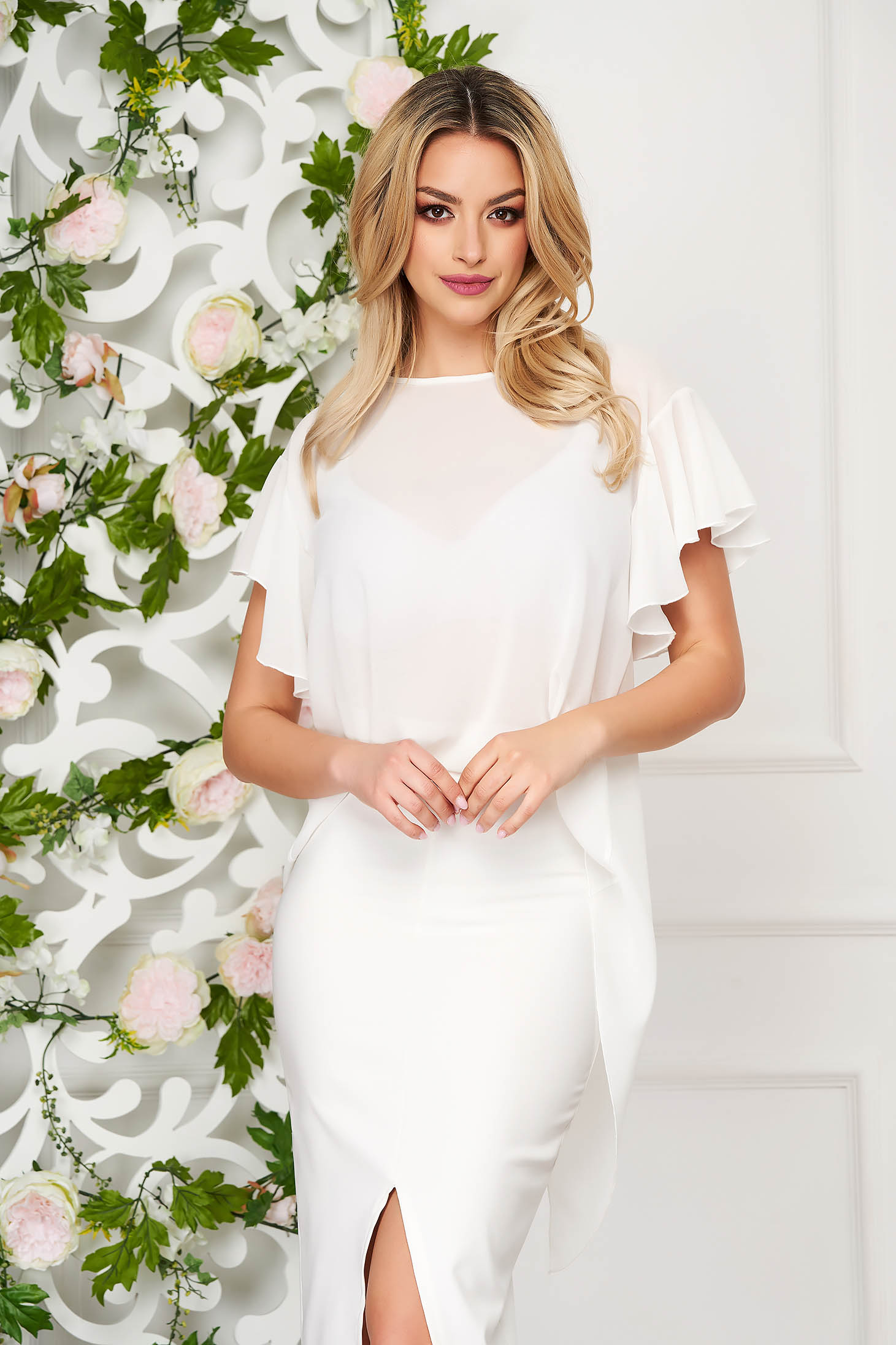 Women`s blouse StarShinerS white elegant from veil fabric flared short sleeve with ruffle details